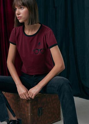 Новая бордовая футболка гарри поттер harry potter принт очки молния польша xs s m l xl