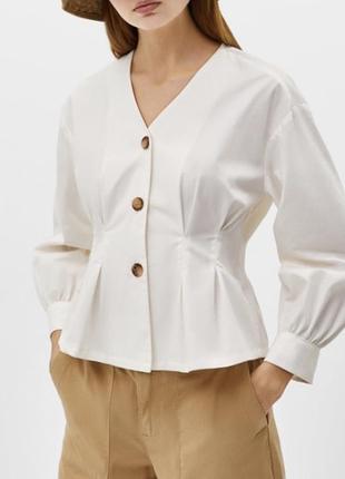 Трикотажная рубашка с обьемными рукавами от bershka