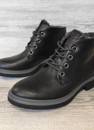 Фирменные кожаные ботинки ecco