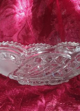 Салатница фруктовница тарелка блюдо ссср антиквариат ретро хруствльная винтаж хрусталь