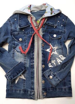 Детская джинсовая куртка для девочки пиджак с бусинами 6-12 лет 4823