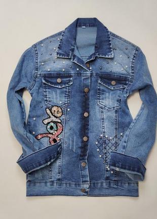 Детская джинсовая куртка для девочки пиджак с нашивкой  10-16 лет 4824