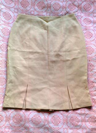 Шерстяная юбка песочного цвета marks&spencer
