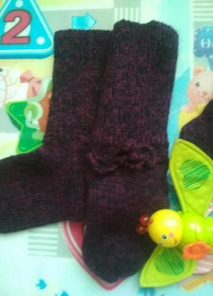 Носочки из шерсти для мамы и девочки фемили лук