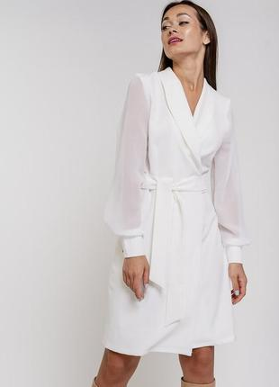Платье на запах с шифоновыми рукавами