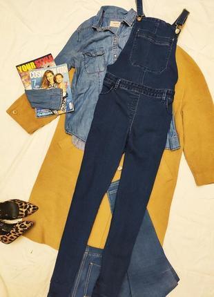 Denim комбинезон синий голубой джинсовый с карманами на брительках