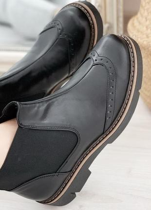 Новые женские кожаные чёрные  демисезонные ботинки челси
