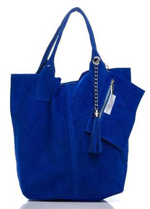 Замшевая ярко-синяя сумка arianna италия