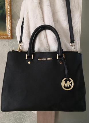 Vip!!! шикарная большая сумка из кожи сафьяно michael kors💥💥👜👜🐥🐥