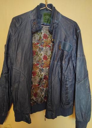 Синяя куртка из еко кожи