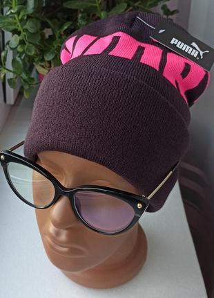 Новая крутая шапка бини, бордовая