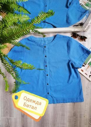 Натуральная блуза топ батал хлопок рубашка короткий рукав