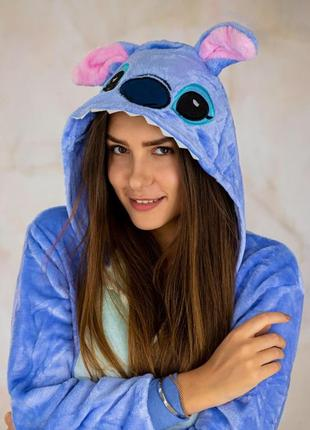 Кигуруми синий стич (яркий / синий / голубой / пижама)