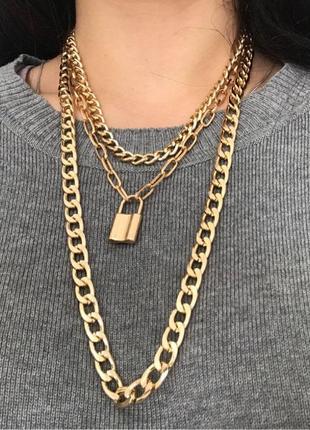 Тройная цепочка с кулоном ожерелье колье 3009