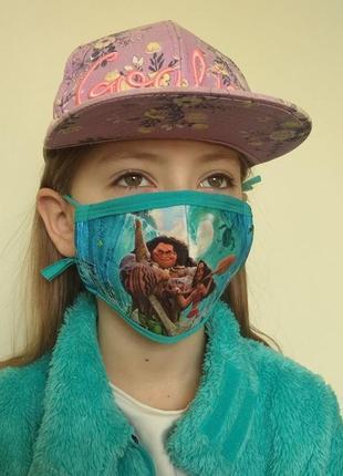 Маска защитная многоразовая детская для мальчиков и девочек моана