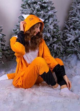 Кигуруми лиса / оранжевая лисичка / лисенок (яркий / пижама)