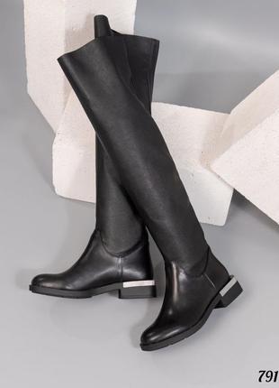 ❤ женские черные кожаные осенние демисезонные высокие сапоги ботфорты ❤