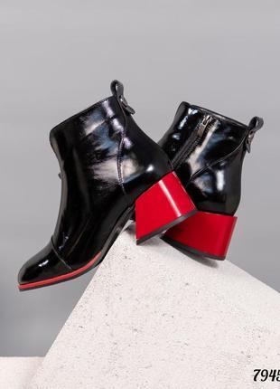 ❤ женские черные лаковые кожаные осенние демисезонные ботинки ботильоны ❤