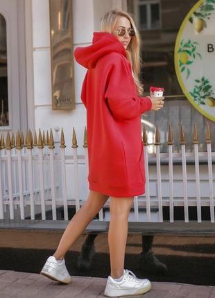 Платье худи на флисе (есть большие размеры)