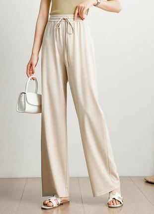 Широкие штаны кюлоты брюки-палаццо светло-бежевые молочные женские длинные в пол