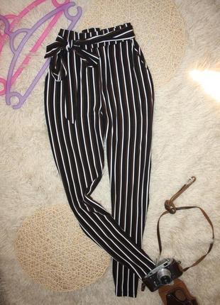 Стильные брюки в полоску, высокая талия amisu