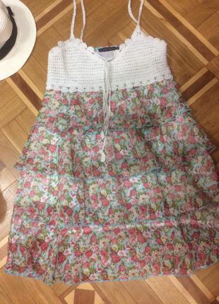 Распродажа! ламповое платье в цветочный принт, легкое