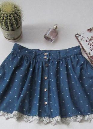 Джинсовая юбка с кружевом и карманами
