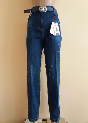 Турецкие джинсы adorati с ремнем 46 размер, женские джинсы на высокую талию