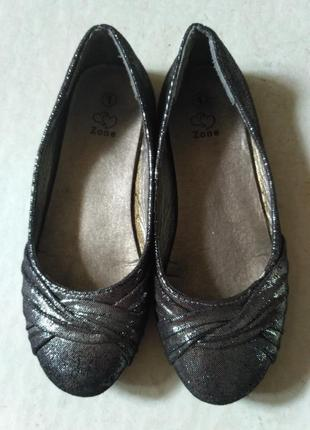 Zone серебристые туфельки, балетки размер 33
