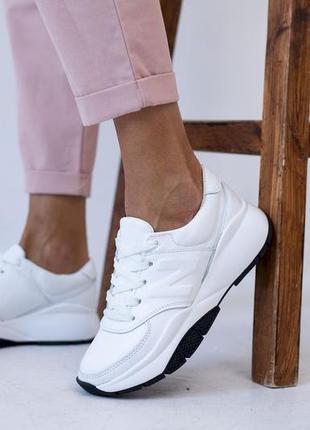 Натуральные кожаные кроссовки белого цвета в стиле new balance с 36-41