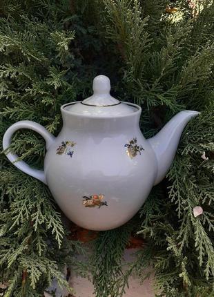 Чайник заварной дулево ссср фарфор роза позолота крупный