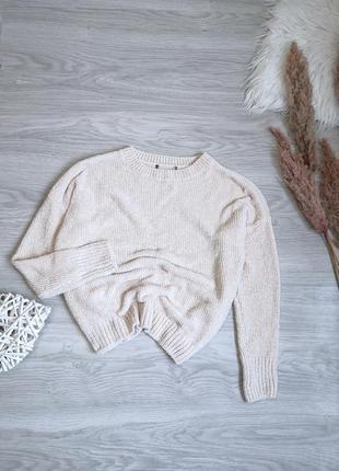 Шикарный кремовый молочный велюровый свитер