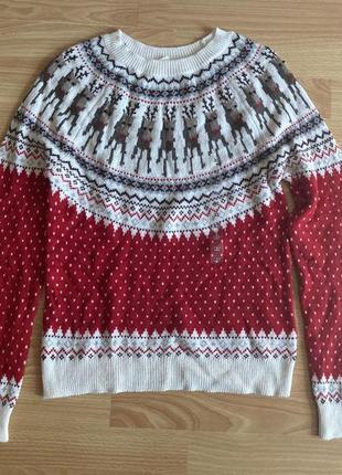 Новорічний светр з оленями h&m, р.xs, свитер