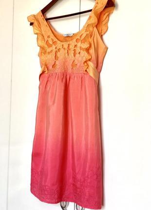 Нарядное кукольное шелковое платье с эффектом градиента. платье шёлк, платье шелк