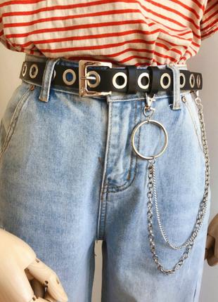 Женский ремень кожаный с цепочкой двойной цепью люверсами дырками заклепками унисекс