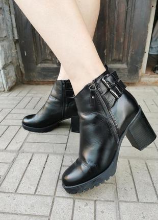 Кожаные стильные ботинки, размер 41