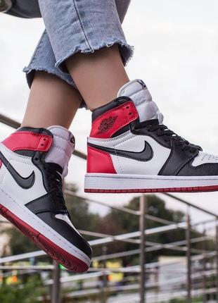 Шикарные женские кроссовки nike air jordan 1 retro high white/black/red 😍