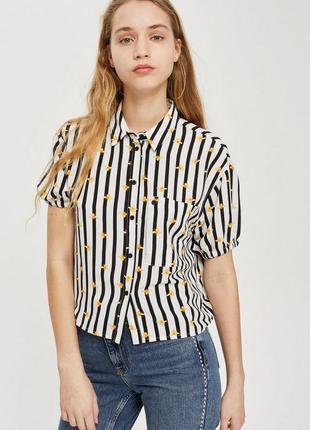 Брендовая короткая рубашка-кроп от top shop/ кроп - топ oversize.