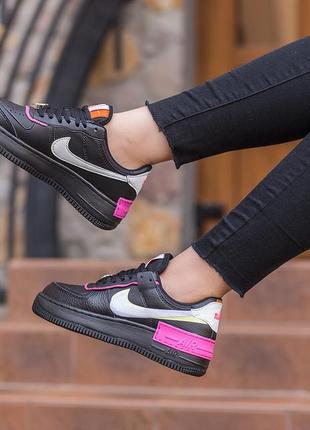 Женские кроссовки nike air force 1 shadow removable patches black