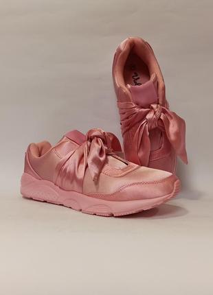 Розовые кроссовки с бантом с бантиком демисезон женские деми код 333
