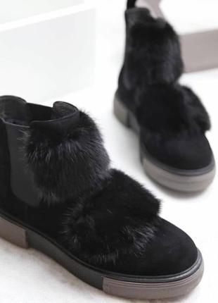 Ботинки зимние женские с мехом норки