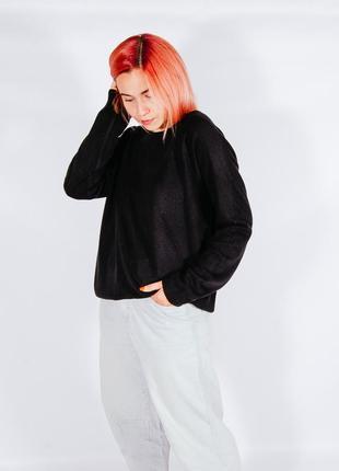 Черный женский свитер, свитер оверсайз