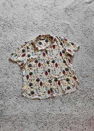 Вискозная рубашка с прикольным принтом, свободная рубашка