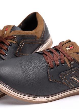 Спортивные мужские кожаные туфли tommy hilfiger black-brown