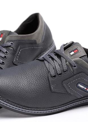 Мужские спортивные кожаные туфли tommy hilfiger black-grey