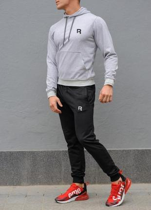 Мужской спортивный костюм reebok (рибок), серая худи и черные штаны весна-осень