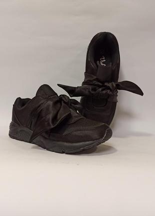 Черные кроссовки с бантом с бантиком демисезон женские деми код 332