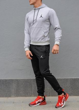 Мужской спортивный костюм jordan (джордан), серая худи и черные штаны весна-осен