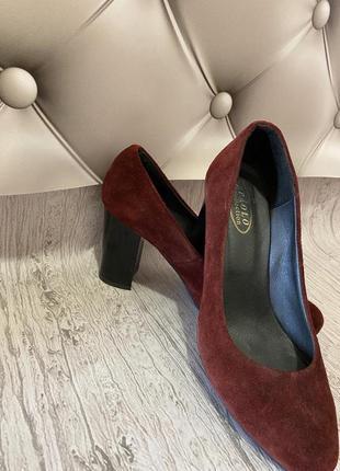 Туфли натуральная замша бордовые