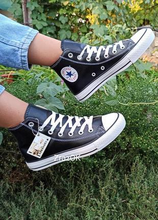 Черные с белым кеды высокие  кожаные ботинки кроссовки converse